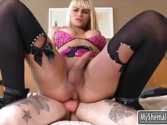 Massive tits blonde ts in lingerie gets nailed in her ass