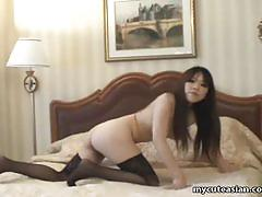 Asian pussy flicking and orgasm