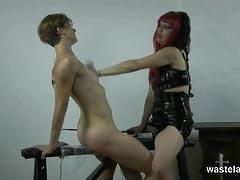Kinky mistress teases her naked slave