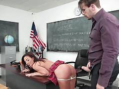 Naughty girl amara romani punished by teachers cock