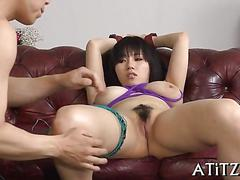 Asian titty fuck during threesome film