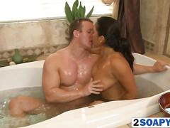 Brunette latina sucks cock and gets her pussy licked in the bathtub