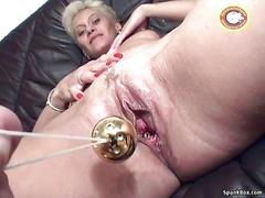 Mature gets dildoed before facial cumshot