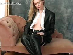 Hot busty blondes love to tease feeling every inch of their sexy leather thigh boots