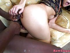 Assfucked eurobabe deepthroats big black cock