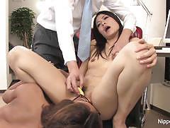 Secretary gets her warm pussy dildo fucked