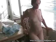 Amateur strip fun with blonde mom