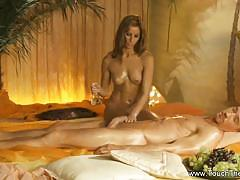 Masseuse tugs on this hard cock