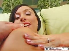 All internal busty brunette gets triple fucked and gets a