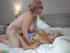 Teen big girl fucks hard old granny with strapon by oldnanny