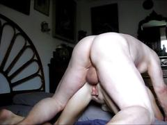 Grandpa unloads his huge balls in grandma's ass