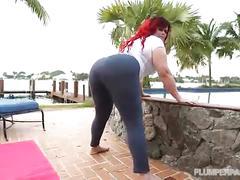 Big booty redhead milf fucks in yoga pants