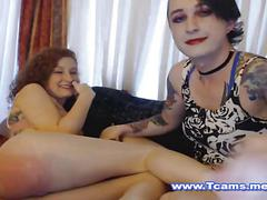 Two horny shemales fucking hardcore on cam