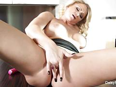 Blonde daisy monroe toys her warm pussy