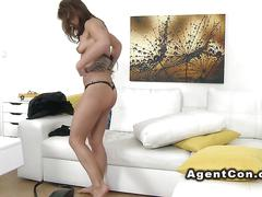 Hot brunette banging fake agent in office