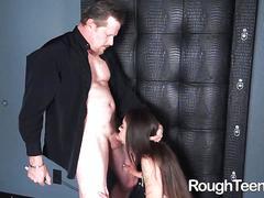 Older man fucks her rough