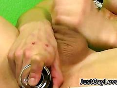 Stuffing that ass with his sex toy real fucking deep