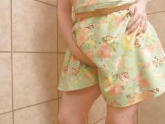Frisky business- birthday girl horny in public bathroom