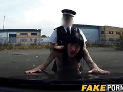 Fucking that bitch up with his police officer meaty baton