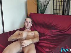 Skinny tattooed dude denis whips out his cock in bed