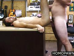 Amateur newbie wanted to get some cash in the shop and ends up gay fucked