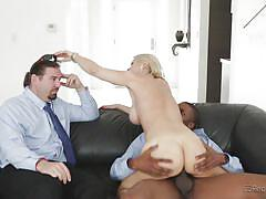 interracial, high heels, big boobs, riding cock, husband watching, big black cock, deepthroat blowjob, tit suck, reality junkies, sarah vandella, isiah maxwell