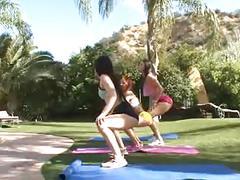 Three fantastic teen chicks outdoor lesbian action