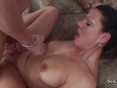 Step-mom caught step-son and let her pussy fuck