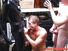 Straighty rimmed by gimp in trio at pawnshop