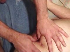 Blindfolded bottom gets rock hard cock