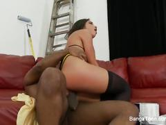 Dirty slut giselle leon enjoys some interracial fucking action