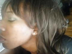 Ebony cougar loves having cum on her face
