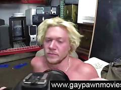 Muscled blonde naked for gays with cash and a camera
