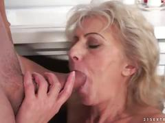 Hairy granny gets fucked by a younger cock