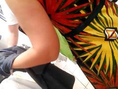Blonde russian milf upskirt thong