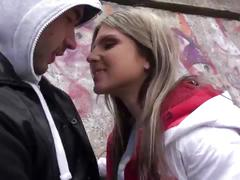 Hot babe gina gerson takes a mouthful of cum outside