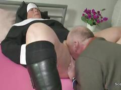 German mother wake up her step-son with fuck