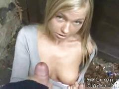 blonde, cumshot, handjob, amateur, public, outdoors, pov