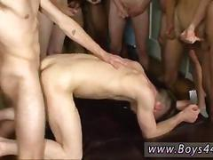Young guy gets his ass gang banged in interracial fuck fest