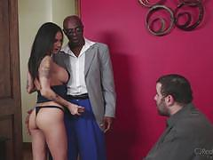nadia styles, sean michaels, blowjob, riding, big tits, doggystyle, cumshot, facial, interracial, watching, cowgirl, cuckold, spooning, sucking