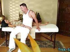 Tricked teen jerk masseur