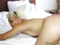 Tiny ebony babe has anal