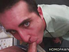 Hairy big fat ass dude gets ass rimmed after getting caught stealing in the shop