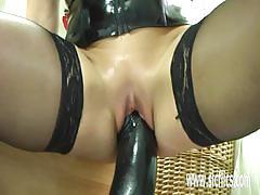 Mature amateur takes on gigantic dildo
