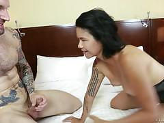 dana vespoli, brunette, blowjob, doggystyle, tattoo, cumshot, heels, 69, basque, spooning, sucking