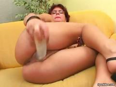 German mature gets dildoed and facialed