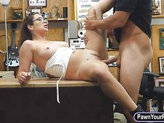 Sexy babe sells her watches and pounded at the pawnshop