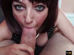 Mature step-mom like to swallow step-son's cum #deepthroat