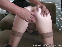 Mean threesome for amateur gilf melanie