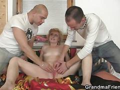 Delivery men share old skinny granny